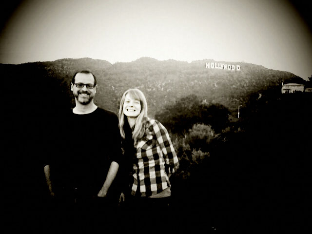 Mike and Tori at the Hollywood sign, taken with my camera phone