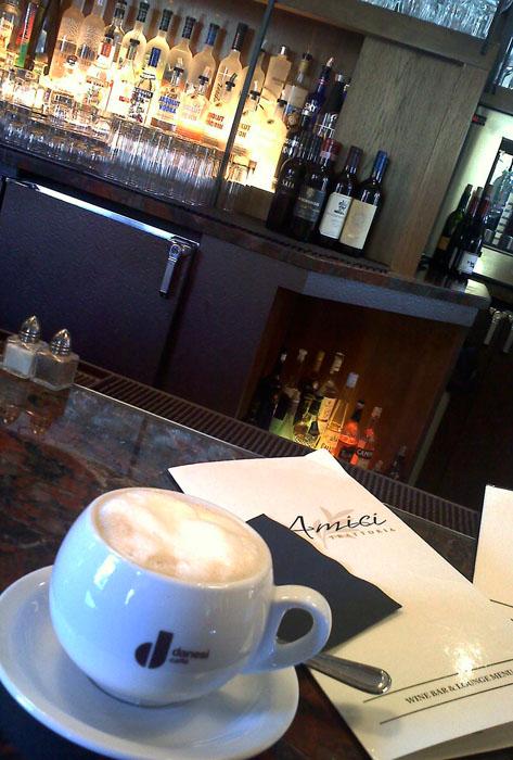 Cappucino at the bar, Amici, Glendale, CA