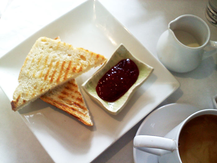 Toast and jam from Elements Kitchen Cafe in Psadena, CA