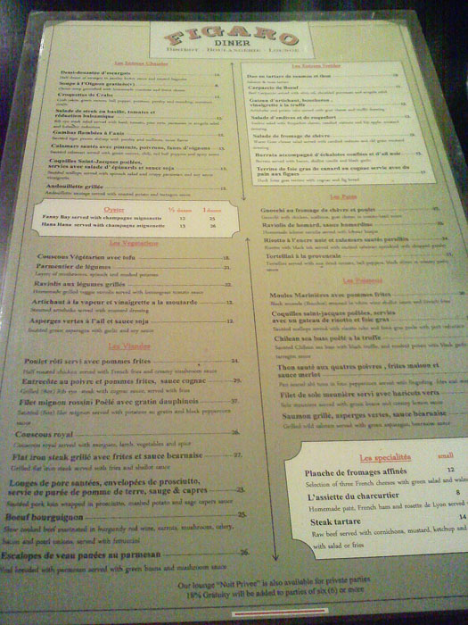 The large and varied menu at Cafe Figaro, Los Angeles, CA