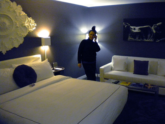 Our suite at Rumor Hotel, Las Vegas. Very trency dark walls and black and white furniture.