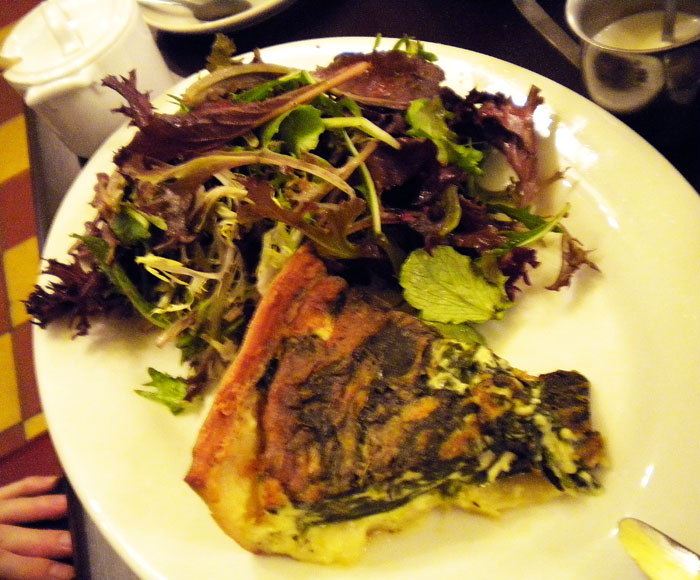 Spinach quiche and mixed greens at Cafe Figaro, Los Angeles, CA