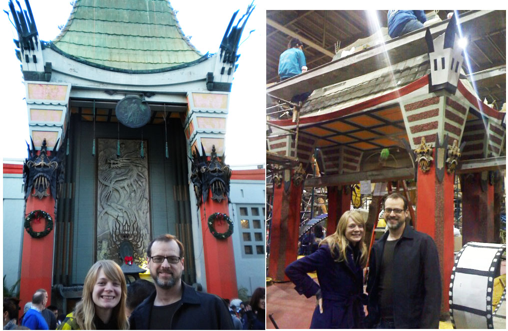 Mike and Tori in front of the real Chinese Theatre and in front of the Hollywood float version of the Chinese Theatre.