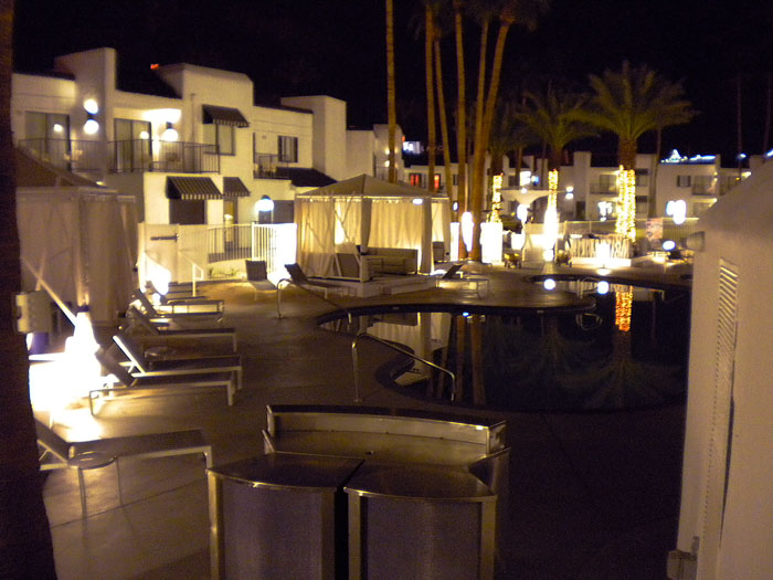The swanky pool area at Rumor Boutique Resort Hotel in Las Vegas.
