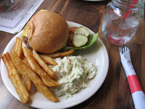 Cheeseburger, fries, and cole slaw at The Depot, Palmer Lake, CO