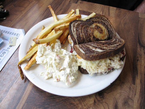 Mike had a rueben with fries and potato salad