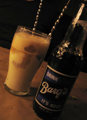 Root beer float with a paper straw at Ted's Montana Grill, Colorado Springs