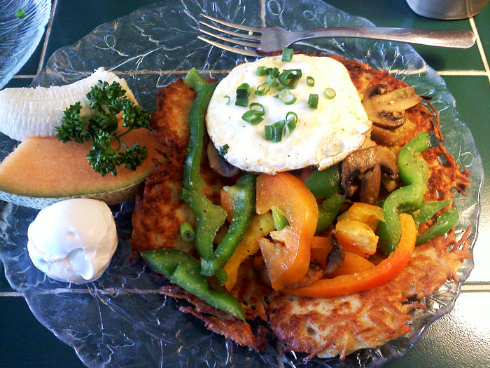 Potato pancake with veggies and eggs at The European Cafe, Manitou Springs, CO