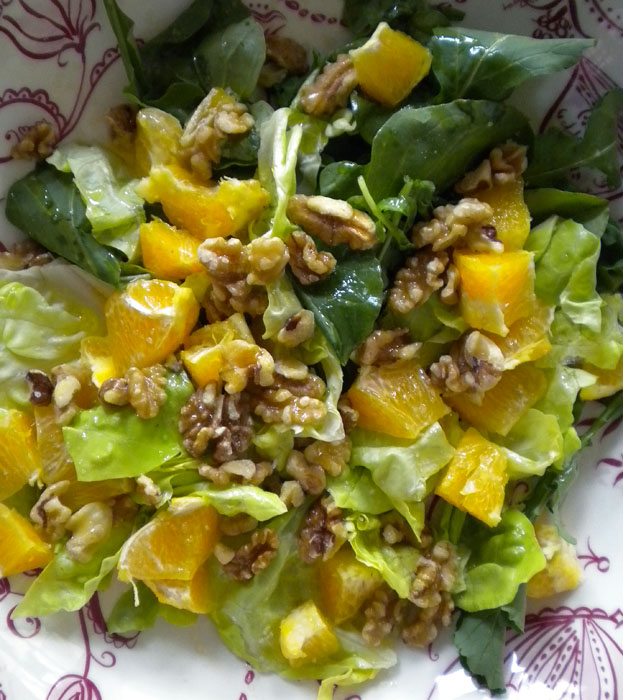 Arugula, butter lettuce, oranges, walnuts, with white balsamic and olive oil dressing.
