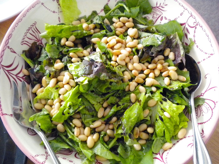 Red leaf lettuce, green leaf lettuce, white beans, with balsamic and olive oil dressing.
