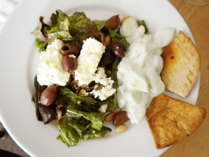 Red leaf lettuce, with white beans, feta cheese, Greek olives, with balsamic and olive oil dressing.