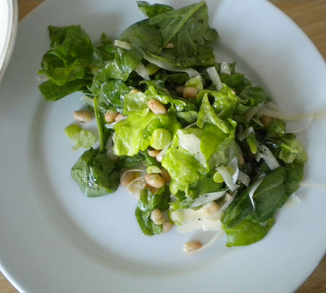 Arugula and butter lettuce with white beans, lima beans, parmesan, and red wine vinegar and olive oil dressing.