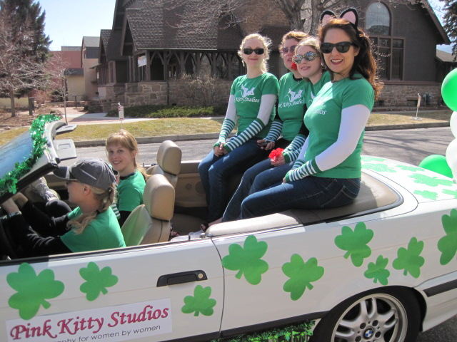 Pink Kitty Studios float, St. Patrick's Day parade, downtown Colorado Springs