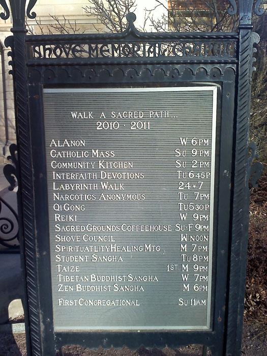 Shrove Memorial Chapel has different religious services.