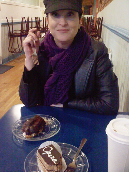 Janel and her eclair at La Baguette in Old Colorado City