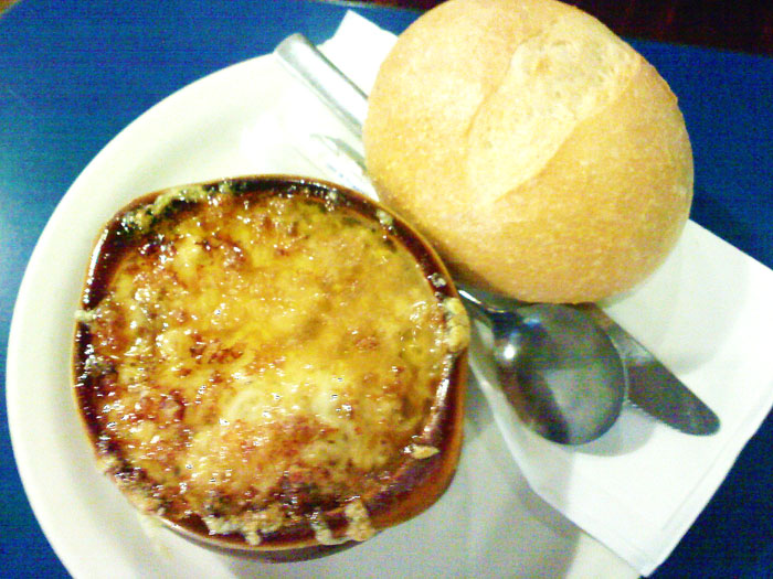 After the eclair she had some French onion soup and a delicious French roll