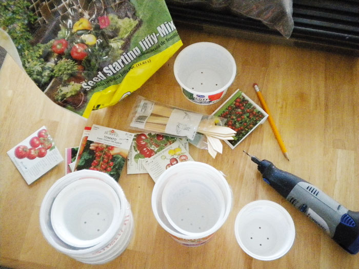 This year I'm starting my seeds in plastic yogurt and cottage cheese containers.