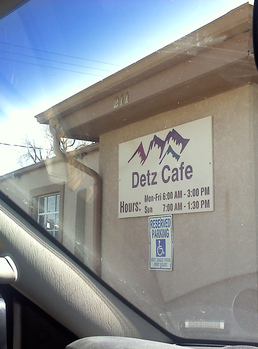 Detz Cafe, downtown Colorado Springs.