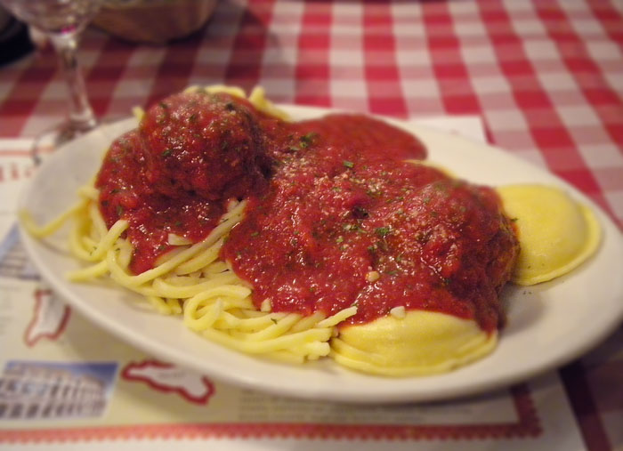 Homemade spaghetti and meatballs, Rocco's, Colorado Springs.