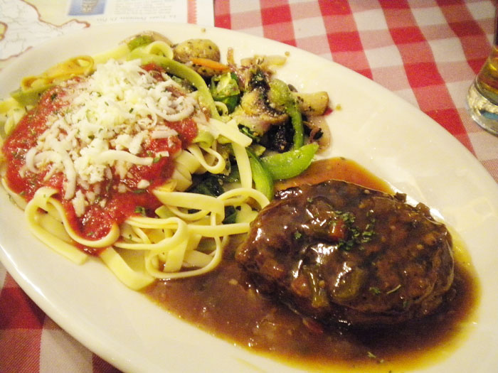 Pepper steak with pasta primavera, Rocco's, Colorado Springs.