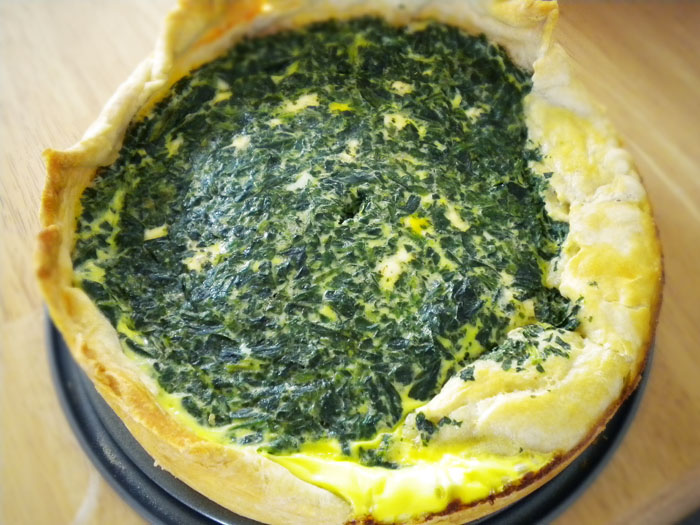 Spinach quiche.