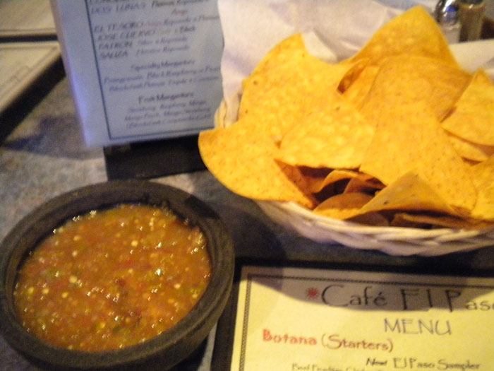 Chips and salsa from Cafe El Paso