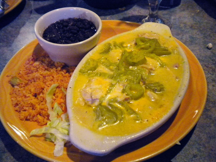 A really interesting creamy chicken dish wirth rice and beans from Cafe El Paso