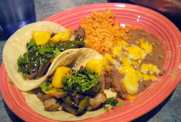 Beef tacos at Cafe El Paso- comes with rice and beans