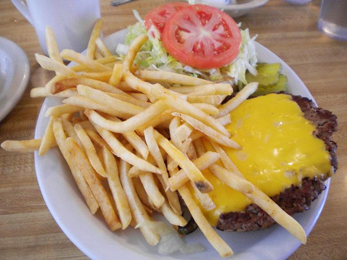 Cheeseburger at Detz Cafe, downtown Colorado Springs.