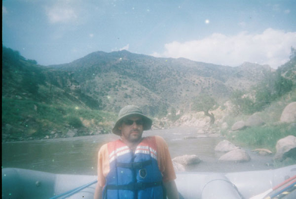 The rapids aren't too rough in Bighorn Sheep Canyon, so from time to time you can just chill in the boat.