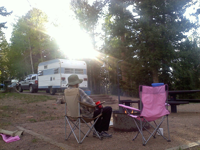 The Oinkety Play-Mor trailer at Rampart Reservoir, Colorado