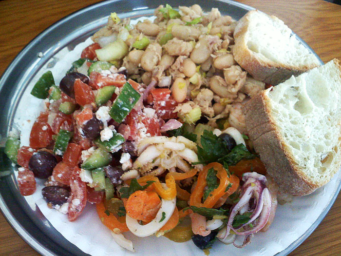 Greek salad, tuna and white bean salad, and calamari salad, Deluca's Deli, Glendale, CA