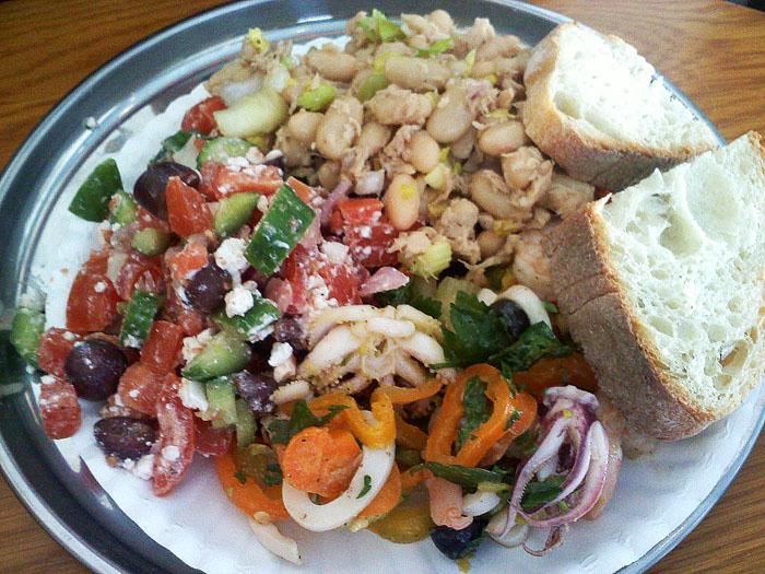 Greek salad, tuna and white bean salad, and calamari salad, Deluca's Deli, Glendale, CA