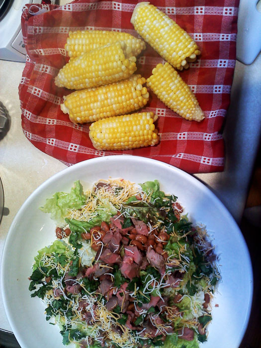 Roast beef salad with pinto beans, cilantro, and cheddar cheese. Fresh corn.