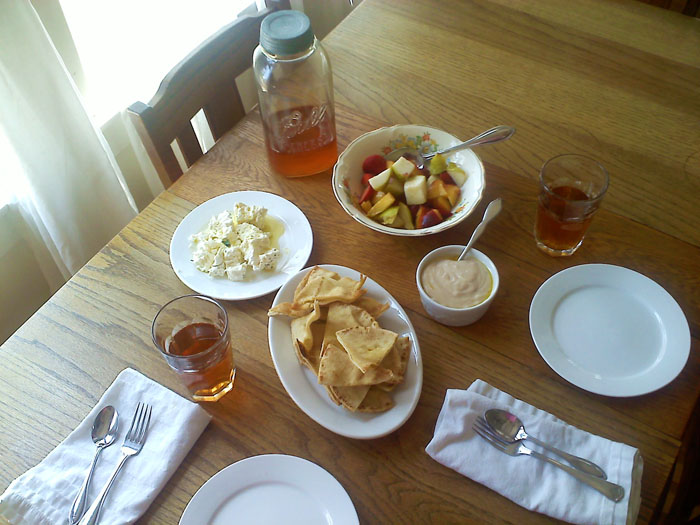 Oven toasted pita with olive oil, white bean hummus with rosemary and garlic, marinated goat cheese, and fruit salad.