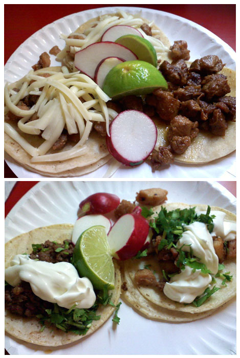 Steak tacos and chicken tacos. Delish!