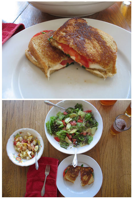Grilled caprese sandwich (fresh mozerella, tomatoes, basil), fruit salad, green salad with cucumber, tomato, and parmesan.
