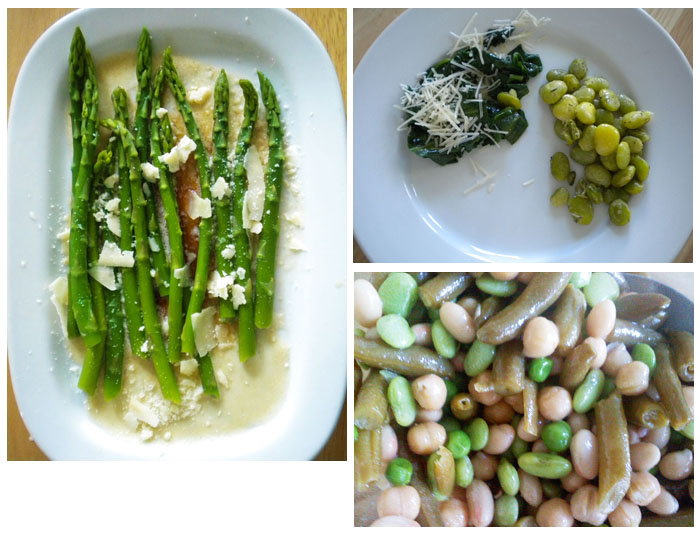 Blanched asparagus with brown butter and parmesan, sauteed spinach and roasted lima beans, three bean salad.