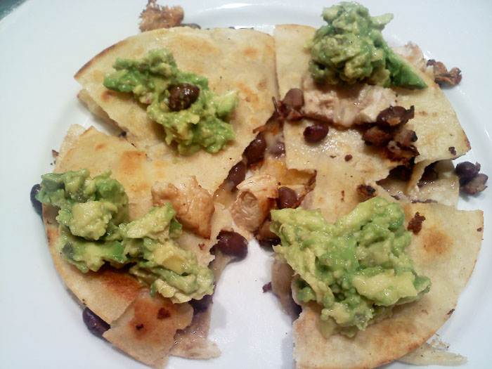 Chicken, cheddar, black bean, and avocado quesadillas