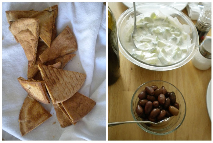 Tzatziki with baked pita crisps and olives.