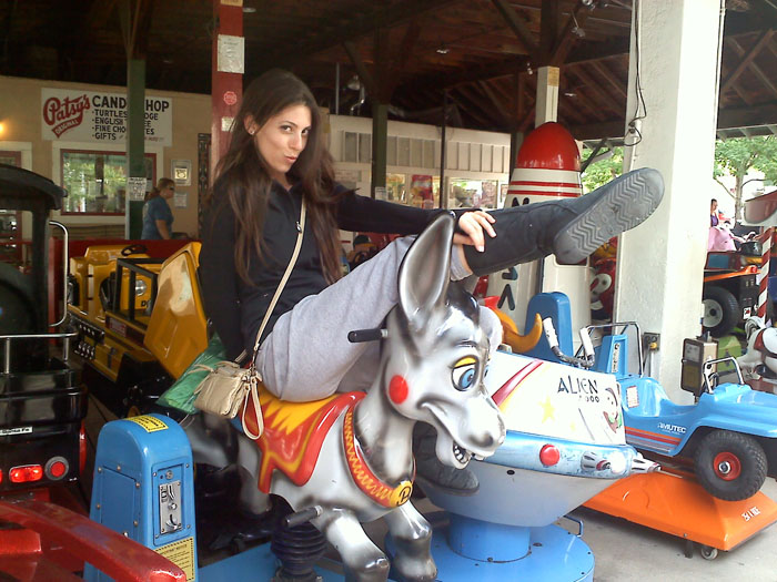 You always have to pose on one of the kid's rides.