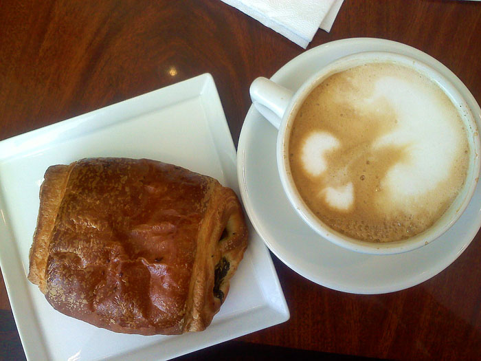 Delicious croissant and latte at Cafe Leon, Montrose, CA