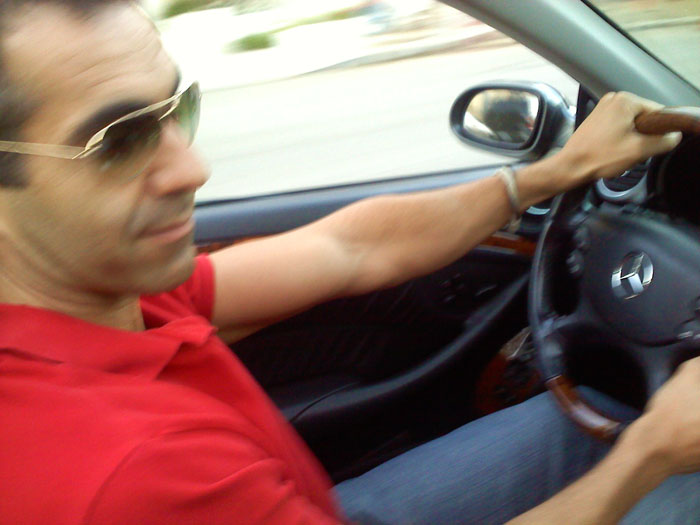 My brother Chris driving me around in the convertible.