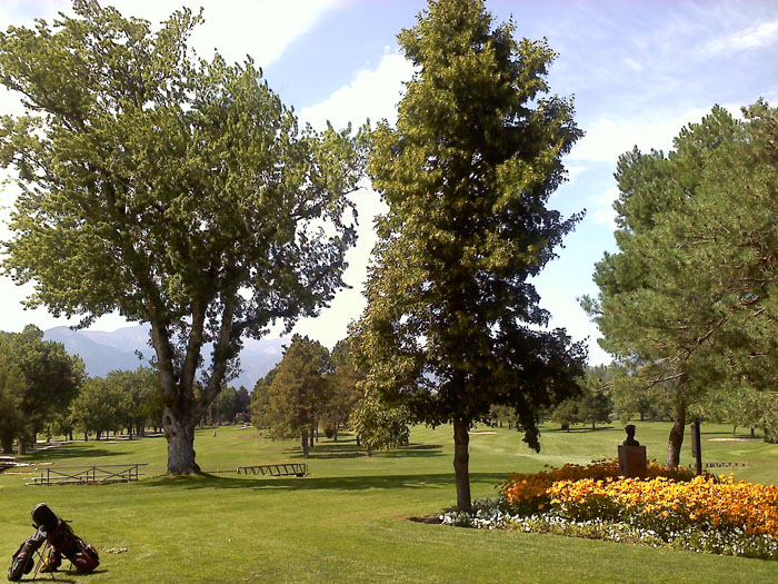 Patty Jewett Golf Course from the patio at the clubhouse, Colorado Springs.