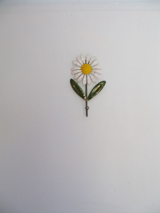 My $1 flower hook on the bathroom door.