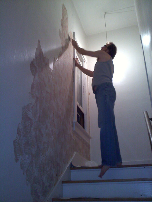 Mike peeling off the top layer of wallpaper