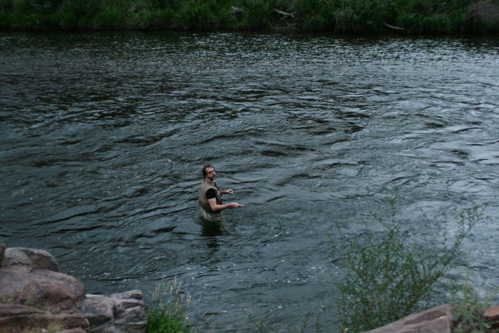 Mike fishing in The Arkansas River at Rincon Campground, Colorado