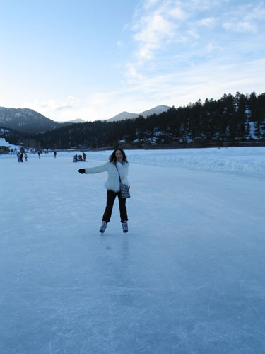 Ice skating on the lake in Evergreen, CO