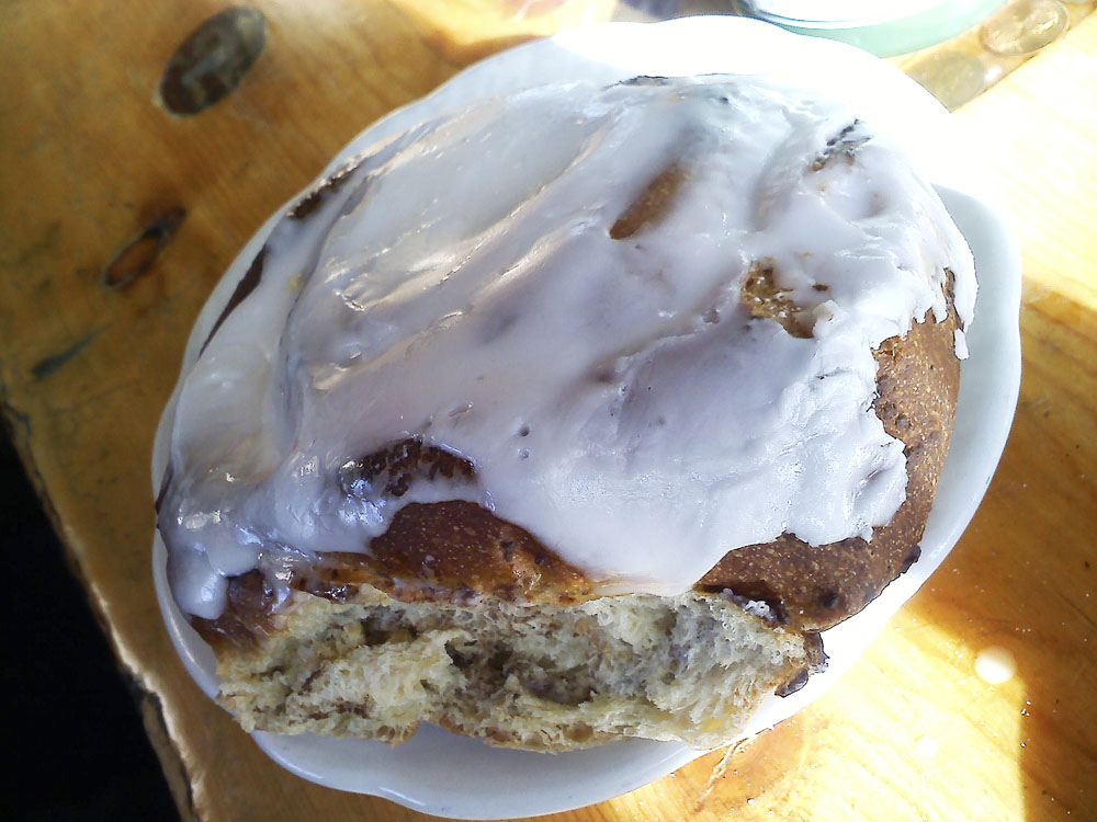 Cinnamon roll from the Brown Burro Cafe in Fairplay, CO
