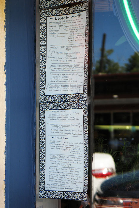 Homespun handwritten menu at Smiley's